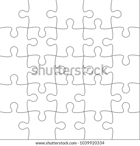 Jigsaw puzzle vector blank template or cutting guidelines of 25 pieces.
