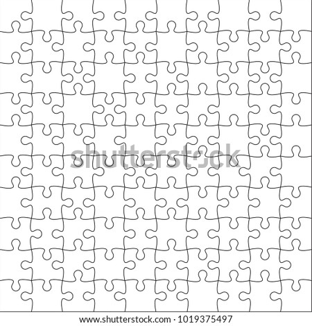Jigsaw puzzle vector blank template or cutting guidelines of 100 pieces on white background.