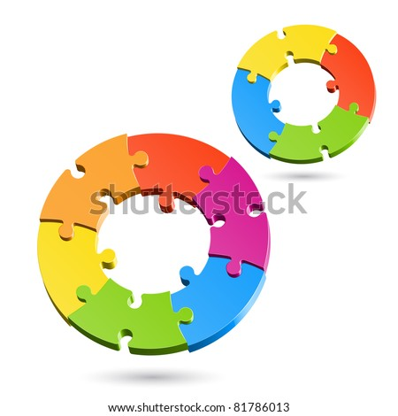 Jigsaw puzzle wheels. Vector.