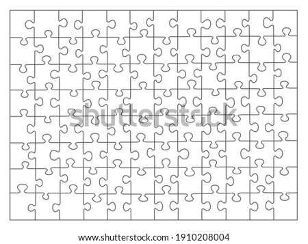 Jigsaw puzzle white color. puzzle grid 8x12. Game mosaic 96 individual parts.