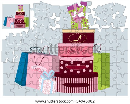 Jigsaw puzzle with shopping bags and gift boxes - stock vector