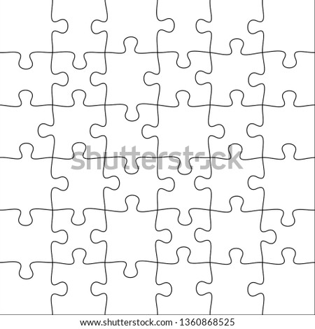 Jigsaws puzzles. Square puzzle 6x6 grid, jigsaw game and join 36 picture pieces. Classic puzzles game element or mosaic part connection vector illustration