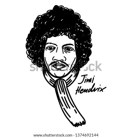 jimi hedrix vector cartoon