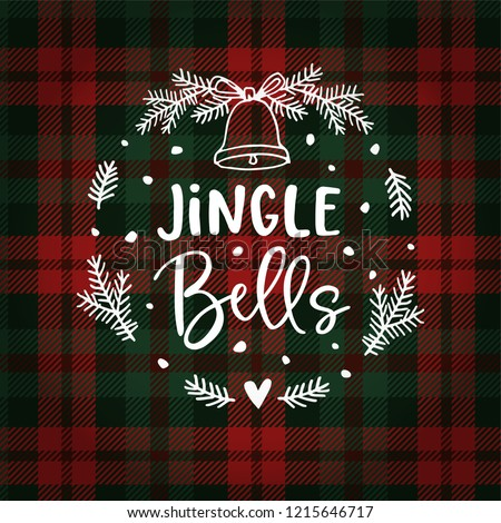 Jingle bells Christmas greeting card, invitation with fir tree wreath, bell and falling snow. Hand lettered white text over tartan checkered plaid. Winter vector calligraphy illustration background.