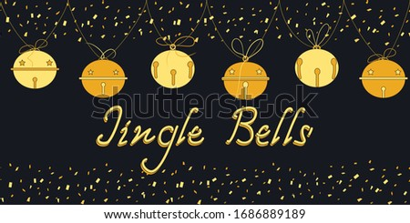 Jingle bells hand drawn lettering. Seamless border with hanging bells. Christmas card with confetti, a garland of golden bells and the inscription Jingle Bells. Xmas and New Year vector background