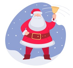 Jingle bells, Santa Claus christmas character standing outside. Xmas celebration, winter holidays seasonal fun and rest. Cheerful grandfather frost in traditional costume vector in flat style