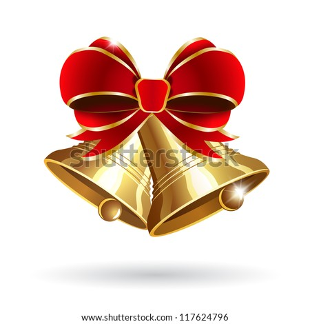 jingle bells with red bow on a