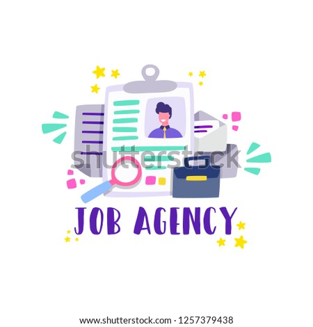 Job agency. Job-search-consulting firms to be licensed as employment agencies. Cartoon vector.