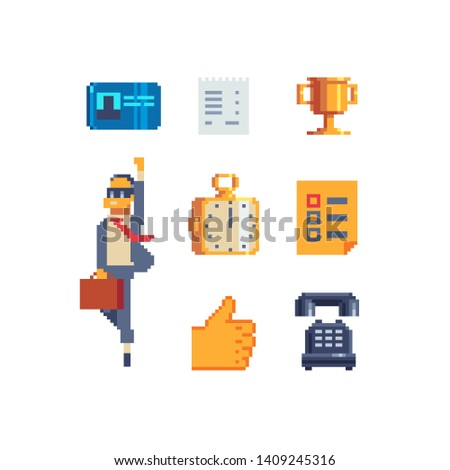 Job agency, recruitment agency pixel art icons set. Employees search, resume, interview and organization. Isolated vector illustration. Design for logo, stickers, web, mobile app.