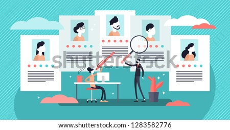 Job agency vector illustration. Flat tiny employee headhunters persons concept. Professional work search and offer service company. Recruitment industry occupation for human resources. CV application.