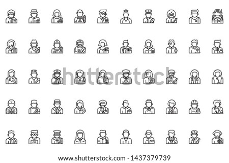 job and occupations big set of beautiful icons on white background , vector symbol