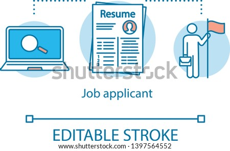 Job applicant concept icon. CV application idea thin line illustration. Resume vector isolated outline drawing. Hiring professional resources, recruit office personnel. Editable stroke