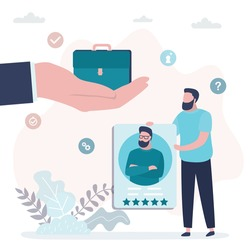 Job candidate is holding resume. Big hand gives the briefcase after successful interview. Hiring process. Recruitment concept. Male Job Seeker, Five stars quality cv. Flat vector illustration