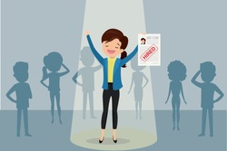Job candidate won and stand in spotlight,caucasian female and paper page with red stamp -hired, human resource recruitment concept,silhouettes of different people,flat vector illustration