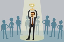 Job candidate won and stand in spotlight with cup, human resource recruitment concept,silhouettes of different people on the background,flat vector illustration