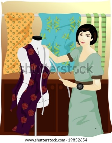 Job Character - beautiful young Asian woman who is working with tapeline and dummy in her boutique