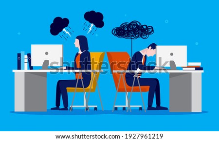 Job dissatisfaction - Two business people  feeling negative and unmotivated about work in the office. Motivation problem concept. Vector illustration. Photo stock ©