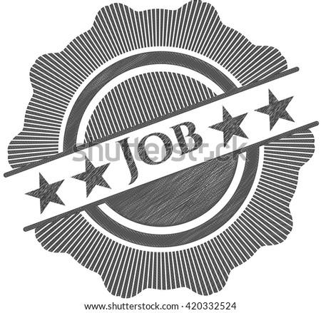 Job emblem drawn in pencil