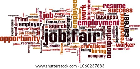 Job fair word cloud concept. Vector illustration