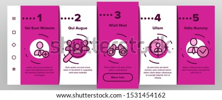 Job Hunting Onboarding Mobile App Page Screen Vector Thin Line. Magnifier With Suitcase And Computer, Web Site And Businessman Job Hunting Concept Linear Pictograms. Illustrations