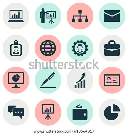 Job Icons Set. Collection Of Line Symbols Presentation Board, Increasing, Leader And Other Business Job Icon Elements Set. Also Includes Symbols Such As Presentation, Laptop, Chatting.