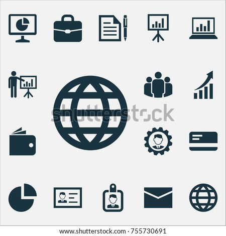 Job Icons Set. Includes Icons Such As Presentation Board, Suitcase, Payment And Other.