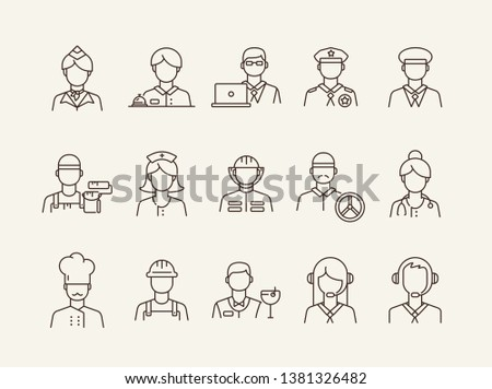Job icons. Set of line icons on white background. Call center operator, manager, policeman. Profession concept. Vector illustration can be used for topics like career, service, occupation Сток-фото ©