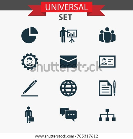 Job icons set with leader, contract, group and other identification elements. Isolated vector illustration job icons.
