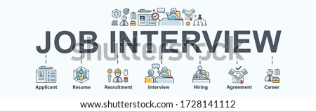 Job interview banner web icon for ิbusiness working and company, applicant, resume, recruitment, hiring, agreement, career and organization. Minimal vector infographic.