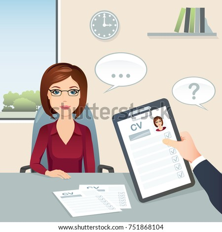 Job interview. Candidate female answers questions on job interview / Staff recruitment. Flat design, vector cartoon illustration.
