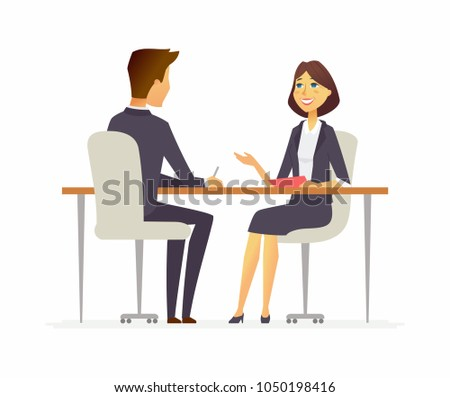 Job interview - cartoon business people character isolated illustration on white background. An image of a young man, HR officer in smart clothes speaking to a smiling woman, sitting at the table