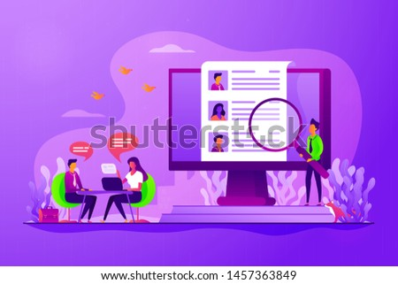 Job interview. Employee hiring. HR management. Employment service. Candidates seeker. Human resources, HR team work, headhunter service concept. Vector isolated concept creative illustration Сток-фото ©