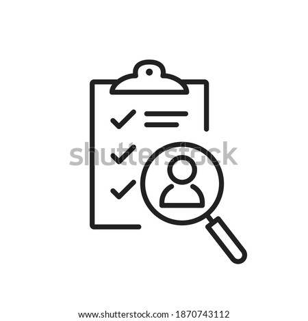 Job interview hire form list line icon. Candidate questionnaire check list for vacancy. HR talent survey form for employee. Job research and resume. People employment search n select outline vector V1