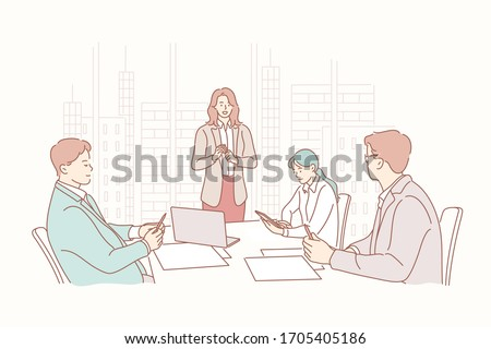 Job interview, HR, meeting, recruiting, training, headhunting business concept. Businesspeople managers listen woman clerk trainer presentation in office. HR recruiters headhunters on job interview.