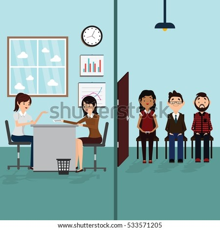 Job interview in office. Business people, man and woman waiting for job interview.