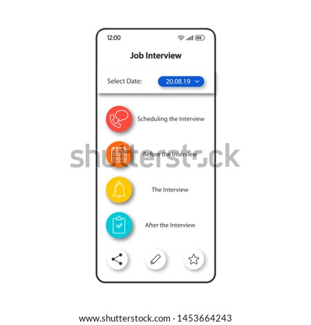 Job interview management smartphone interface vector template. Mobile app page color design layout. Employment stages notifications screen. Flat UI for application. Jobseekers planner phone display