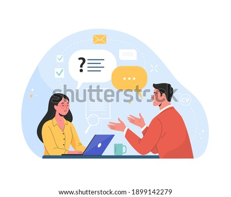 Job interview. Vector flat modern illustration of a man talking to a young woman with laptop. Isolated on background Foto stock ©