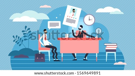 Job interview vector illustration. Flat tiny employment meeting with potential boss persons concept. Stressful and nervous process when ask questions about CV, motivation letter and application form.