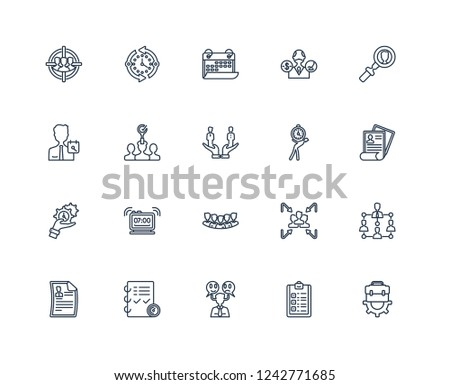 Job, List, Emotions, Planning, Resume, Searching, Time pressure, Staff, management, Recruitment, Date outline vector icons from 20 set #1242771685
