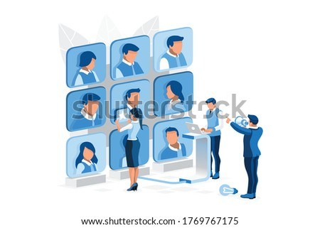 Job manager searching for recruitment, hiring management of recruitment, resource searching for new manager a best job. Hr employee candidate human employee character. Isometric person vector concept