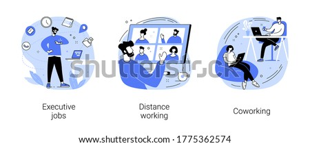 Job opportunity abstract concept vector illustration set. Executive jobs, distance working, coworking, professional growth, online team meeting, shared office space, collaboration abstract metaphor.