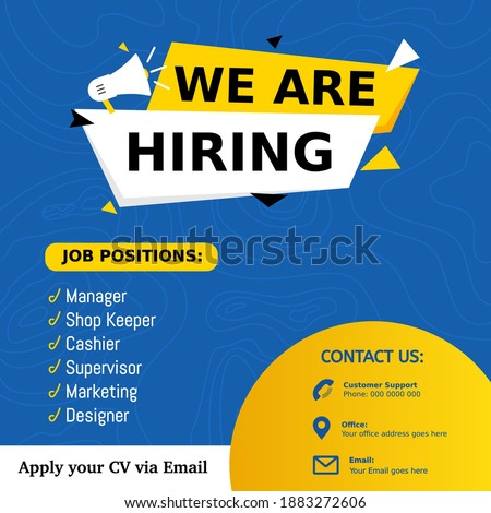 Job positions manager, shop keeper, cashier, supervisor, marketing for job vacancy design. We are hiring post feed on square design. Open recruitment design template. Social media find a job layout