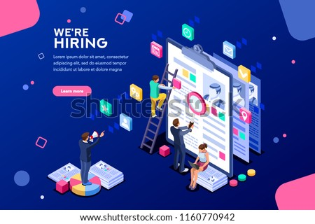 Job presentation fair banner page, choose career or interview a candidate. Job agency human resources creative find experience. Work concept with character and text. Flat isometric vector illustration
