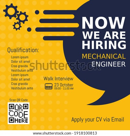 Job recruitment mechanical engineer design for companies. Square social media post layout. We are hiring banner, poster, background template Сток-фото ©