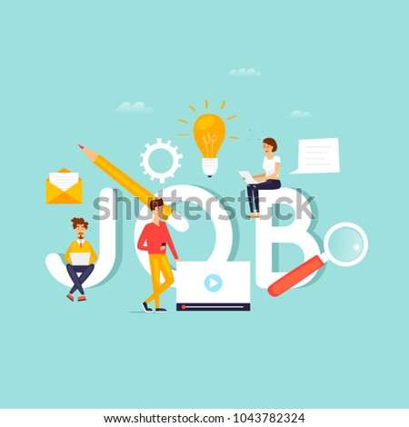 Job search, career, freelance, employment, recruitment. Inscription work and people. Flat design vector illustration.