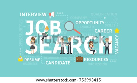 Job search concept illustration. Idea of resources, career and money.