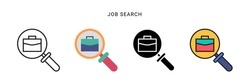 job search icon vector with four different style. isolated on white background.