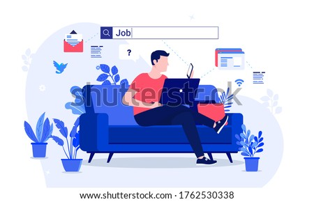 Job search - Man searching job online with his laptop computer from home. Search field over his head. Unemployed, unemployment and searching job concept. Vector illustration.