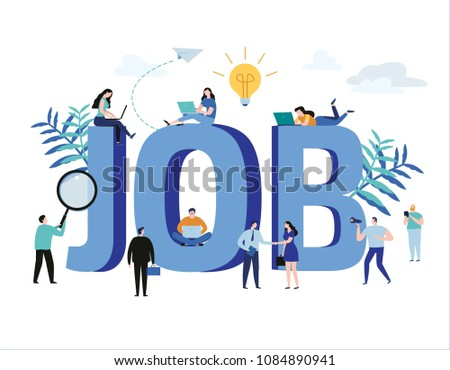 Job search, recruitment, hiring, jobs, career vector illustration web graphics design