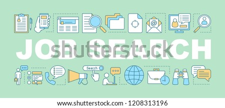Job search word concepts banner. Career opportunities. Presentation, website. Employment. Finding work. Job apply. Isolated lettering typography idea with linear icons. Vector outline illustration